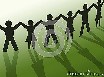 Teamwork people silhouette illustration, community