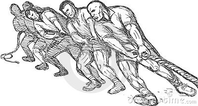 Teamwork pulling rope tug o war