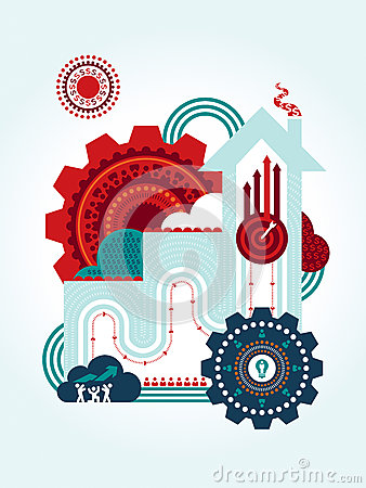 Teamwork for successful business concept Illustrat