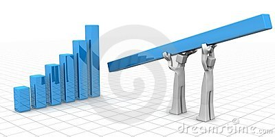 Teamwork to financial growth and success concept