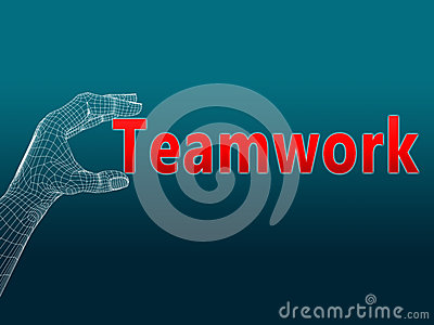 Teamwork wireframe hand