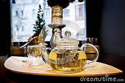 πράσινο καυτό teapot τσαγιού