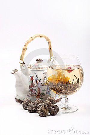 Free Teapot And Glass With A Flower Green Tea Royalty Free Stock Photography - 4674997