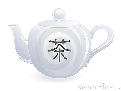 Teapot with chinese hieroglyph