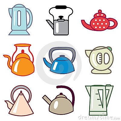 Teapot and kettle icons