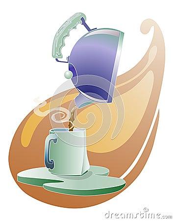 Teapot pouring tea