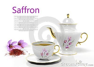 Teapot and teacup with saffron