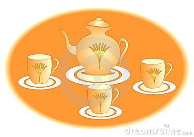 Teapot and three teacups