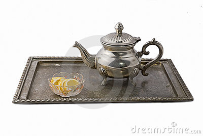 Teapot on a tray