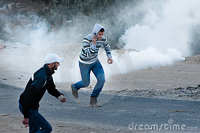 Tear Gas at Jerusalem Protest Editorial Photography