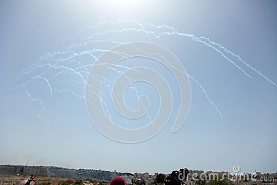 Tear Gas in the Sky Palestinian Demonstration Separation Wall Editorial Photography