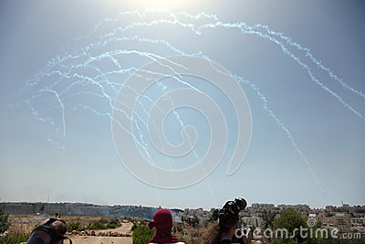Tear Gas in the Sky Palestinian Demonstration Separation Wall Editorial Stock Image