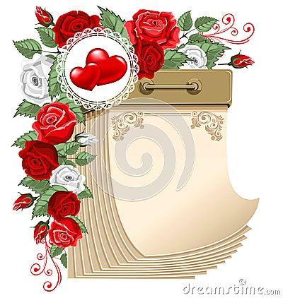 Tear-off calendar, Valentines day
