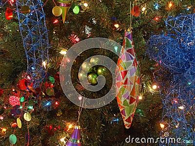 Teardrop ornament on tree