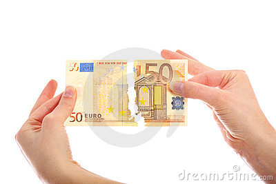 Tearing fifty-euro note