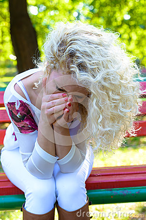 Tears on her face