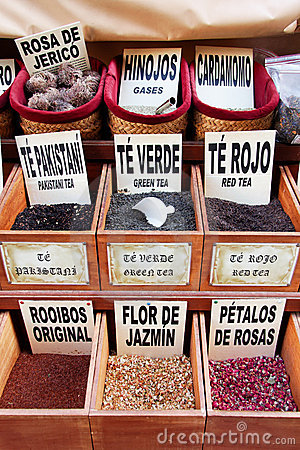 Teas, spices and flavourings on sale in Granada