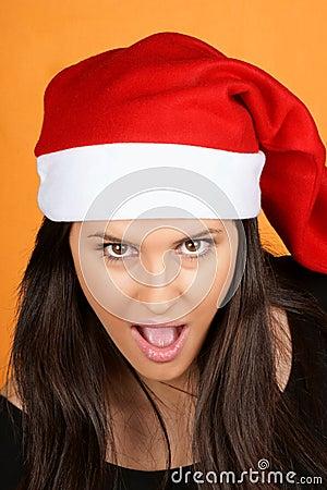Teasing Santa Claus girl