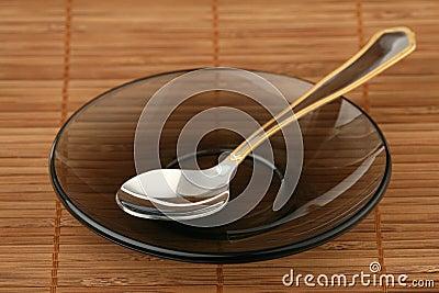Teaspoon on a saucer