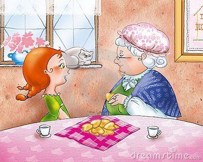 Teatime: Granny with her grandaughter