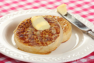 Teatime treat of crumpets and butter