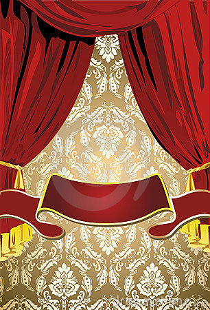 Teatrical Red  Curtains, Gold Background