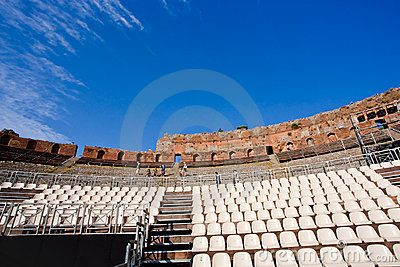 Teatro Greco, Taormina, Sicily Editorial Stock Photo