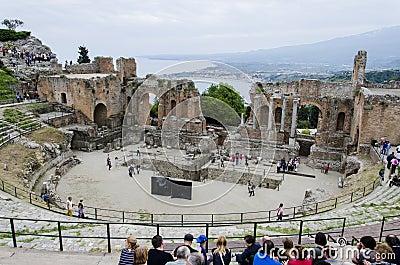 Teatro Greco, Taormina, Sicily Editorial Photo