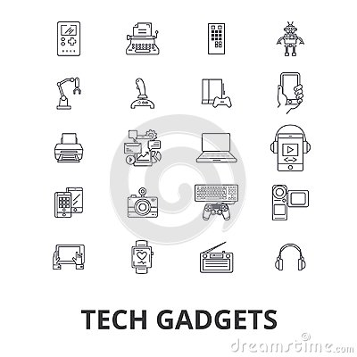Free Tech Gadgets, Technology, Electronics, Laptop, Tablet, Camera, Headphones Line Icons. Editable Strokes. Flat Design Royalty Free Stock Photography - 99749577