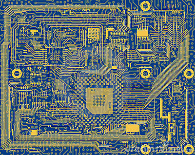 Tech industrial electronic blue circuit background
