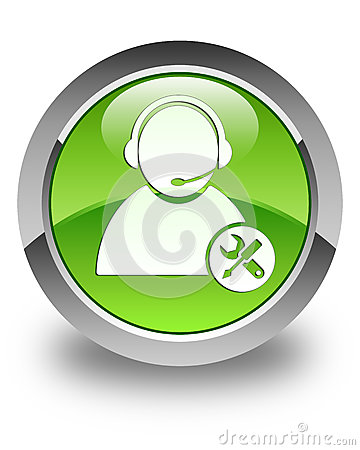 Tech support icon glossy green round button Cartoon Illustration