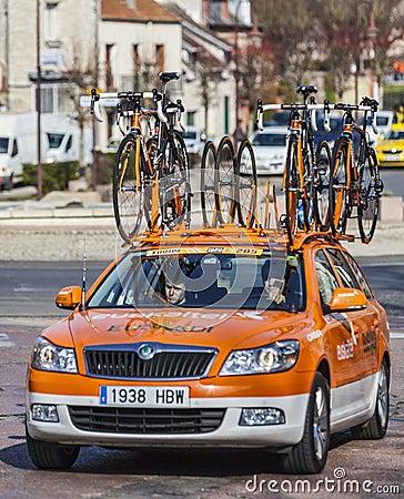 Technical Car of Euskaltel-Euskadi Cycling Team Editorial Photo