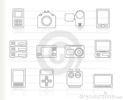 Technical, media and electronics icons -  ic