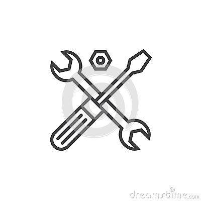 Technical support symbol. Tools line icon, outline vector sign, Vector Illustration
