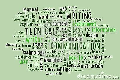 Technical writing word cloud. Stock Photo