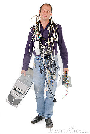 Technician carrying computer