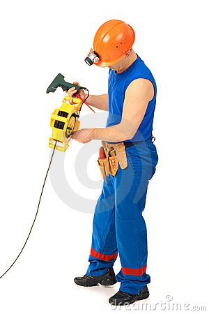 Technician with with electrical tools