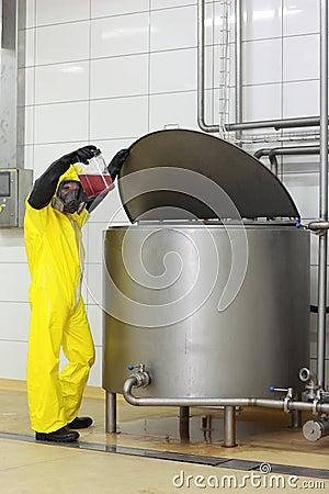 Technician examining sample