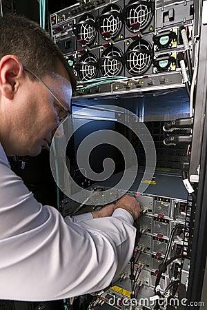 Technician perform maintenance to a server