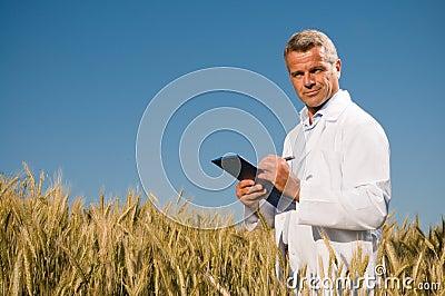 Technician in a wheat field