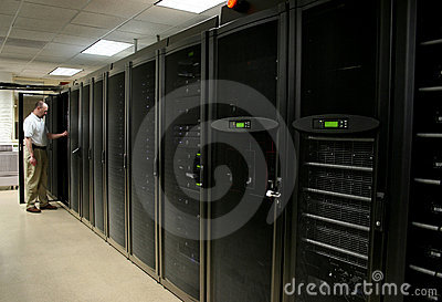 Technician working in a server room