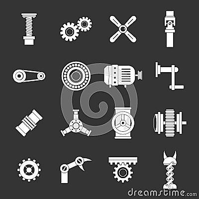 Free Techno Mechanisms Kit Icons Set Grey Vector Royalty Free Stock Image - 113915656