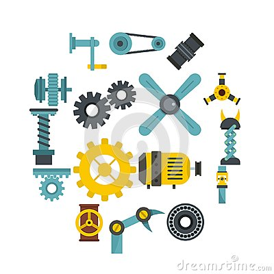 Free Techno Mechanisms Kit Icons Set In Flat Style Stock Photography - 116917392