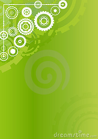 Technological clockwork green vertical background