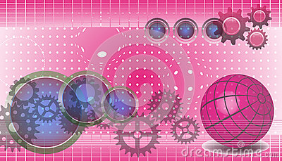Technology background in pink