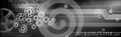 Technology Gears Cogs Banner Background Stock Photo
