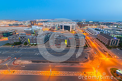 Technology park of Dubai Internet City at night Editorial Image