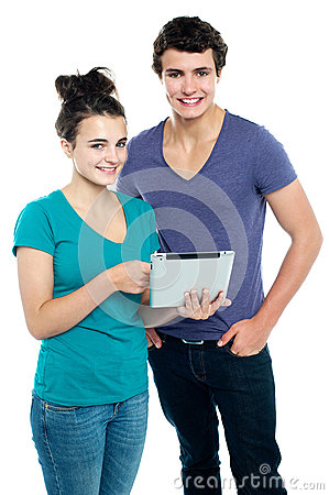 Technology savvy couple browsing
