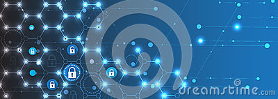 Technology security concept. Modern safety digital background Vector Illustration