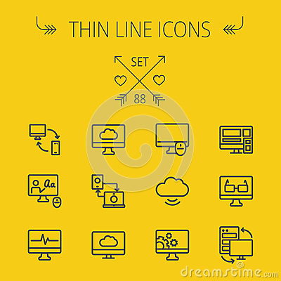 Free Technology Thin Line Icon Set Stock Photography - 56311952